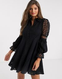 River Island long sleeved broderie lace shirt dress in black