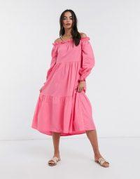 River Island off shoulder volume poplin midi dress in pink