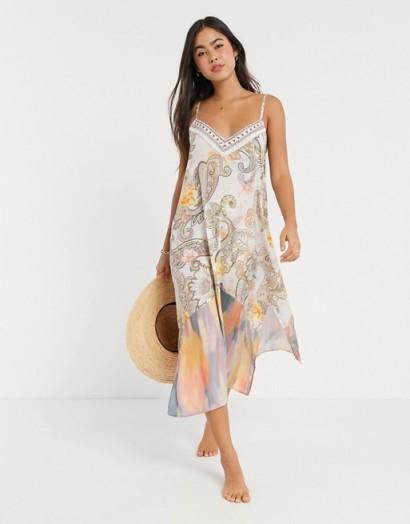 River Island paisley print midi beach dress in cream