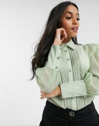 River Island Petite pleated front shirt in sage green – sheer chrochet detail shirts