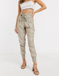 River Island ruched satin tie waist jogger trousers in beige