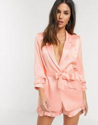 River Island sheen co-ord blazer in coral
