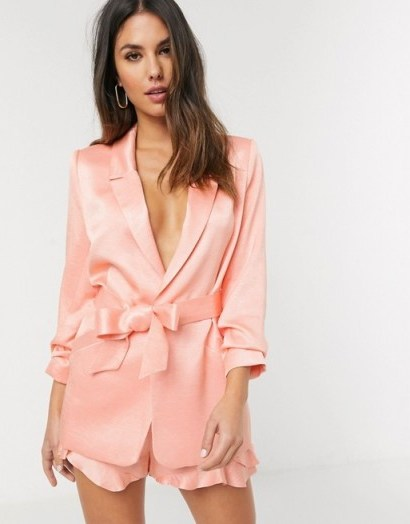 River Island sheen co-ord blazer in coral - flipped