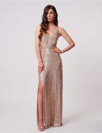 FOREVER UNIQUE Rose Gold Sequin Split Midi Dress ~ sequinned gowns