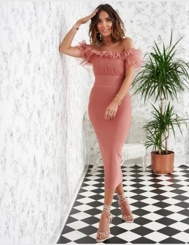 FOREVER UNIQUE Rose Pink Bandage Midi Dress ~ party glamour ~ ruffle detail bodycon