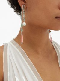 CHLOÉ Rose-quartz & crystal-embellished clip earrings ~ green and pink drops