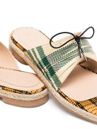 ROSIE ASSOULIN check-pattern slip-on sandals ~ mixed plaid