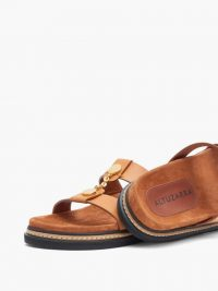 ALTUZARRA Rosko chain and leather slides ~ chic summer flats