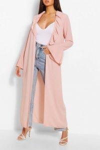 BOOHOO Ruffle Detail Belted Maxi Kimono Blush