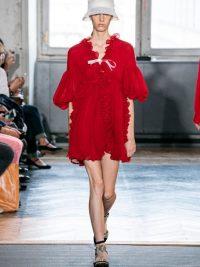 GIAMBATTISTA VALLI Ruffled silk-georgette mini dress in red
