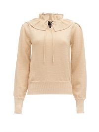 MARC JACOBS RUNWAY Ruffled tie-neck sweater ~ gold fleck sweaters