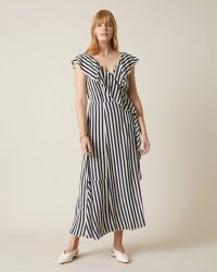 JIGSAW SAILOR STRIPE RUFFLE DRESS FRENCH NAVY / striped summer dresses