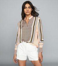 REISS SANDY SCARF-PRINT SHIRT PINK ~ flowy fabric shirts