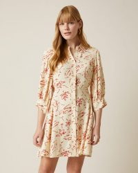 JIGSAW SCRIBBLE PRINT SHIRT DRESS VANILLA