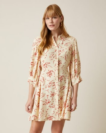 JIGSAW SCRIBBLE PRINT SHIRT DRESS VANILLA