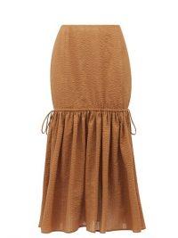 MARYSIA Seashell cotton-seersucker midi skirt