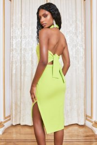 Lavish Alice self tie back midi dress in lime