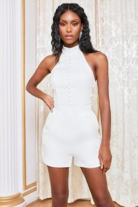 Lavish Alice self tie back playsuit in white | evening playsuits