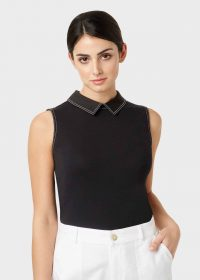 Hobbs SHANNON TOP Black ~ wardrobe staple ~ sleeveless collard tops