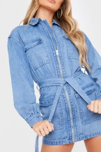 SHAUGHNA PHILLIPS BLUE WASH ZIP FRONT OVERSIZED DENIM COMBAT DRESS