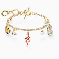 SWAROVSKI SHELL CORAL BRACELET, RED, GOLD-TONE PLATED ~ sea / ocean inspired charms ~ bracelets