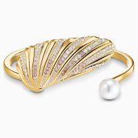 SWAROVSKI SHELL CUFF, LIGHT MULTI-COLOURED, GOLD-TONE PLATED ~ statement cuffs ~ ocean / sea inspired