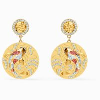 SWAROVSKI SHINE FISH PIERCED EARRINGS, RED, GOLD-TONE PLATED ~ disc drops ~ sea inspired ~ crystals