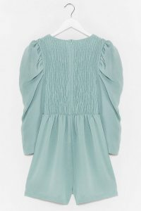 NASTY GAL Shirred It All Before Puff Sleeve Romper Sage