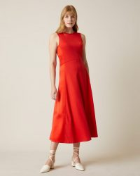JIGSAW SILK MIX SIDE PANEL DRESS FLAME RED