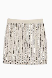 TOPSHOP Silver Mirrored Chevron Embellished Mini Skirt