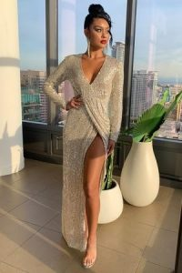 Club L London Silver Sequin Plunge Long Sleeve Split Maxi Dress – sequinned occasion dresses