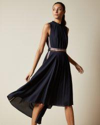TED BAKER DAMSIA Sleeveless dip hem midi dress navy ~ asymmetric dresses