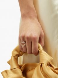 ROSA DE LA CRUZ Smile diamond & 18kt rose-gold ring – smiley face rings