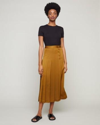 JIGSAW SOFT PLEAT MIDI SKIRT GOLDEN BROWN ~ wrap style skirts