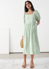 Stories Square Neck Puff Sleeve Midi Dress Green Florals