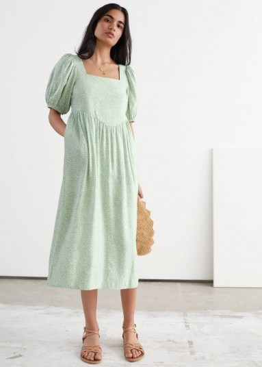 Stories Square Neck Puff Sleeve Midi Dress Green Florals - flipped