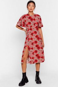 NASTY GAL Stalk My Way Floral Midi Dress Pink – open back dresses