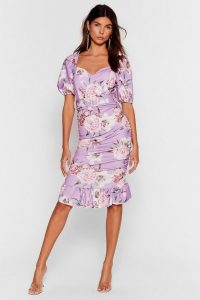 NASTY GAL Stalk This Way Floral Midi Dress Lilac ~ ruched, puff sleeved dresses