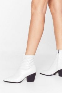 NASTY GAL Step On Up Western Ankle Boots White
