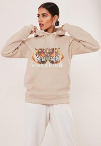 MISSGUIDED stone missguided double tiger graphic hoodie