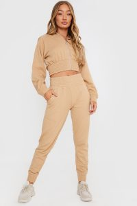 IN THE STYLE STONE SHIRRED WAIST LOUNGEWEAR JOGGERS