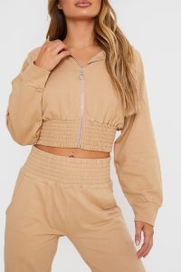 IN THE STYLE STONE SHIRRED WAIST ZIP FRONT LOUNGEWEAR HOODIE