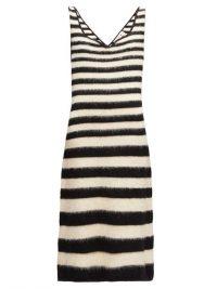 MARNI black and white striped knitted wool-blend midi dress – summer classics