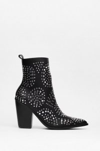 NASTY GAL Stud By You Faux Leather Heeled Boots