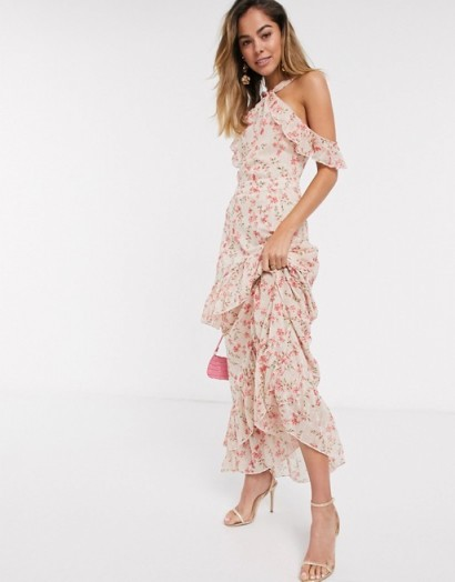 Style Cheat high neck cold shoulder tiered ruffle hem maxi dress in cream floral print
