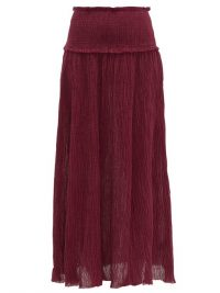Ana de Armas long burgundy skirt, worn with matching crop top, ZIMMERMANN Suraya plissé-gauze maxi skirt, out in Los Angeles, 30 March 2020 | celebrity street style fashion