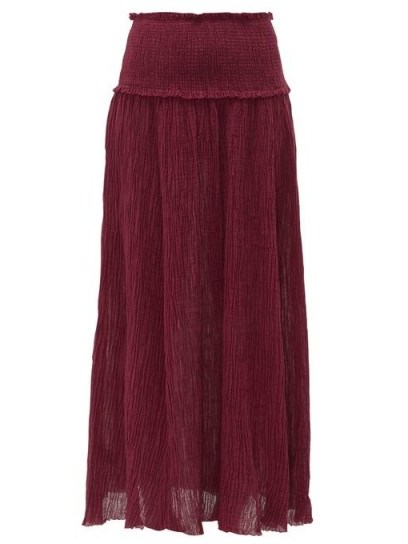Ana de Armas long burgundy skirt, worn with matching crop top, ZIMMERMANN Suraya plissé-gauze maxi skirt, out in Los Angeles, 30 March 2020 | celebrity street style fashion - flipped
