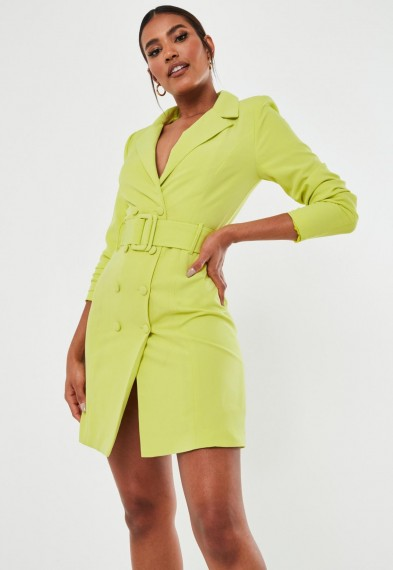 Missguided tall lime belted blazer dress | jacket style dresses