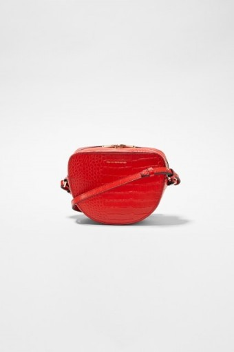 FRENCH CONNECTION TALLIN RECYCLED LEATHER HALF MOON CROSSBODY MARGOT RED
