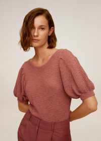 MANGO SEED Textured knit top coral red | scoop back jumper